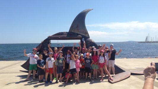 Des écoliers en classe de mer