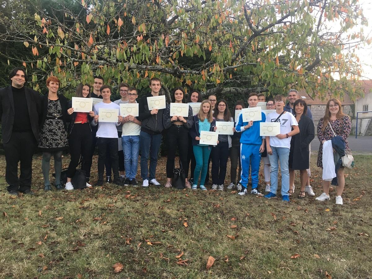 Cérémonie républicaine de remise des diplômes du DNB 2018 – Maringues